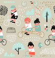 hand drawn seamless pattern with kids on bicycle vector image vector image
