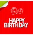 Happy Birthday Paper Red Cardboard Background vector image