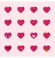 heart emoticons collection Cute emoji set vector image vector image