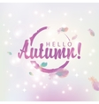 hello autumn on abstract pink background vector image