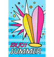 hello summer banner bright retro pop art style vector image vector image