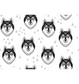 husky or wolf monochrome seamless pattern vector image vector image