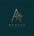 initial a flower beauty letter logo marble design vector image vector image