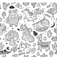 ink seamless pattern with yeti unicorn dragon vector image