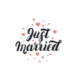 just married hand lettering with hearts background vector image