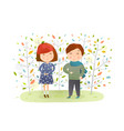 kids boy girl in autumn forest vector image vector image