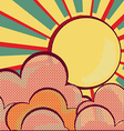 louds and sunRetro nature sky vector image vector image