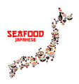 map of japan with asian cuisine seafood dishes vector image vector image