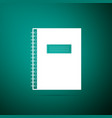 notebook icon isolated on green background vector image vector image