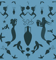 pattern of ancient greece mermaid and triton vector image