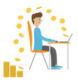 profile man with laptop computer work sitting boy vector image