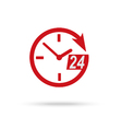 Red clock icon of 24 hour assistance vector image