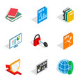 remote lesson icons set isometric style vector image vector image