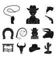 rodeo competition black icons in set collection vector image