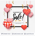 sale text in a frame and 3d hearts on white vector image vector image