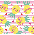 seamless pattern with cute pineapple vector image