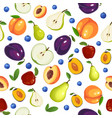 seamless pattern with different fruits on white vector image vector image