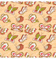 seamless pattern with doodle butterflies vector image