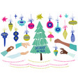 set christmas tree decoration icons vector image