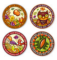 set of seasonal autumn round drink coasters 1 vector image