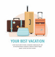 set travel suitcases vacation vector image vector image