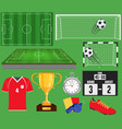 soccer set football equipment collection vector image vector image