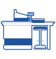 supermarket paypoint with cash register in blue vector image vector image