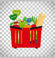 supermarket shopping basket with natural food vector image vector image