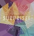 surprise text sunrays retro theme vector image