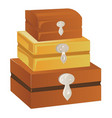 three wooden chest of different sizes with silver vector image