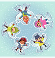 top view kids lying and making snow angel vector image