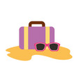 travel suitcase with sunglasses vector image vector image