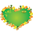 tropical fruit label heart vector image vector image