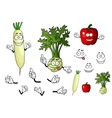 Turnip radish and pepper vegetables vector image