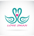 two swan and heart on white background bird vector image vector image