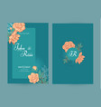 wedding invitation card set with peony flowers and vector image vector image