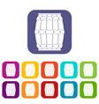 wooden barrel icons set flat vector image vector image