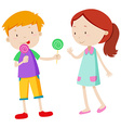 Boy sharing candy with the girl vector image