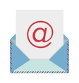 colorful envelope with mailing sheet and at sign vector image