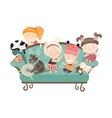 Happy kids sitting on the couch vector image