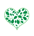 Abstract Green Leaves in A Heart Shape vector image vector image