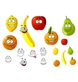 Appetizing fresh cartoon fruits vector image vector image
