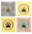 assembly flat shading style icons dog trail vector image vector image