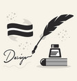 black abstract feather quill ink pen and book vector image