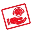 Call Center Service Icon Rubber Stamp vector image