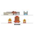 china wuhan flat landmarks vector image vector image