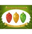 christmas decorations collection red gold vector image vector image