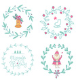 Christmas wreaths set with Santa Claus and vector image vector image