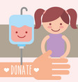 cute girl kawaii blood bag donation campaign vector image