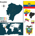Ecuador map world vector image vector image